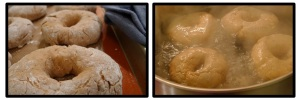 Left: the bagels after they have risen.  Right: boiling the bagels.