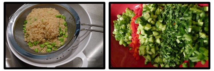 Left: draining the quinoa and edamame Right: the chopped veggies