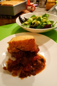 I served the tamale pie with a light avocado salad with lime dressing.